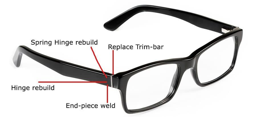 Plastic Glasses Frame Repair : Get your plastic eyeglass frames repaired