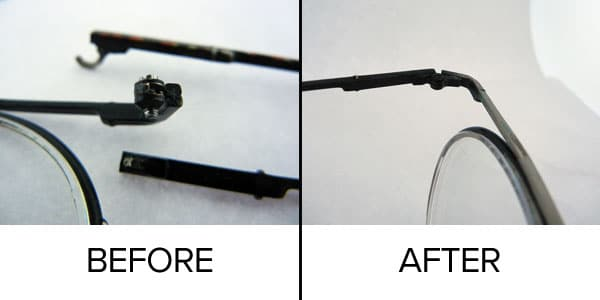 before after hinge rebuild - Nike Glasses and Sunglasses Repair