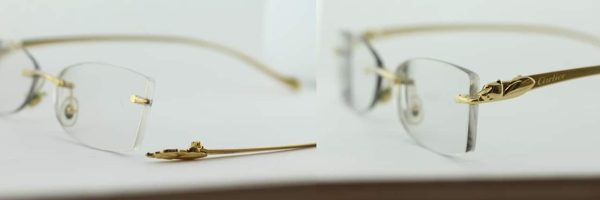 Cartier Panther rimless - Elbow repair in gold