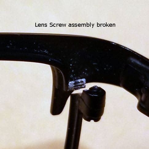 Eyeglass lens screw assembly broken
