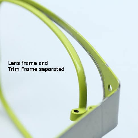 Lens frame and trim frame separated