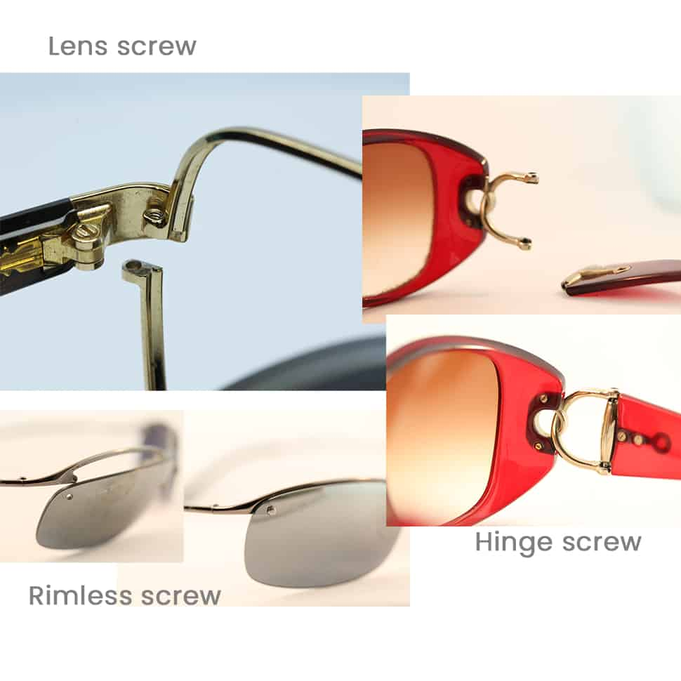 Replace eyeglass lens or hinge screw