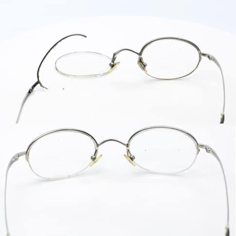 Vintage eyeglass lens frame weld- Left