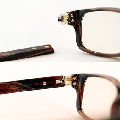 Wood eyeglasses hinge rebuild left