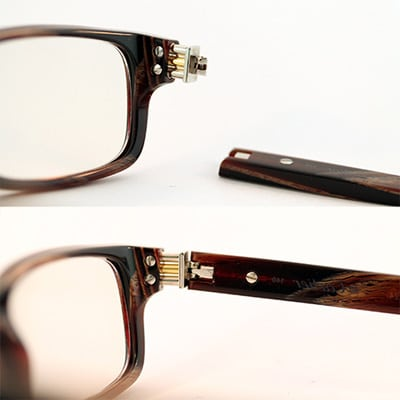 Wood eyeglasses hinge rebuild right